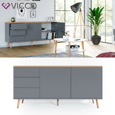 Vicco Sideboard Corona Kommode Schrank in grau, Scandi-Look, Schubladen, Türen