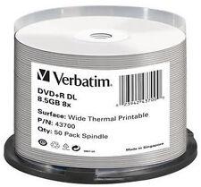 Verbatim 43754 DVD R DL 8.5gb 50pk Wide White Thermal Print 8x