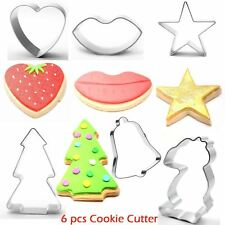 Set of 6 Christmas Metal Cookie Cutters Star Tree Bell Angel Candy Cane Biscuit