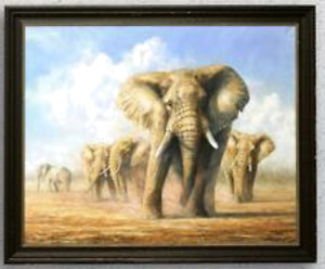 Clayton Ottley Dust Up Elephant Original 56x46 Oil Painting Museum Quality