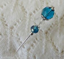 Turquoise Faceted Crystal Bead HatPin  ~Lapel Hat Brooch Stick Pin - approx 76mm