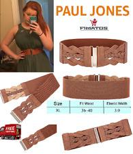 "Women's Elastic Cinch Belt 3"" Wide Stretch Waist Band Clasp Buckle (Brown, XL)"