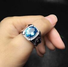4Ct Oval Cut Blue Aquamarine Halo Men's Engagement Ring 14K White Gold Finish