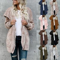 Women's Fleece Fur Jacket Outerwear Tops Winter Warm Hooded Fluffy Coat Sweater