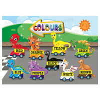 Colours First Learning Poster Wall Chart Educational Kids Child Dinosaurs Theme