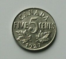 1927 CANADA George V Nickel Coin - 5 Cents - toned-lustre