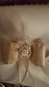 Wedding Ring Cushion / Pillow in Presentation Box , Ivory with Gold