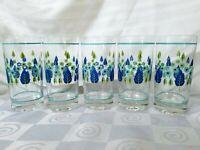 5 Vintage Highball Glasses Blue Green Flowers Leaves Trees Mid Century Tumblers