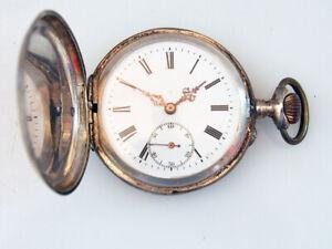 Schöne Taschenuhr, 800 Silber; um 1900; Remontoir; Sprungdeckel