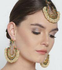 Indian Bollywood Gold Red Green Fashion Pearl Maangtika Earrings Women Jewelry