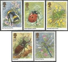 Great Britain 1985 INSECTS (Bee,Ladybird,Cricket,Beetle,Dragonfly) (5) SG1277-81