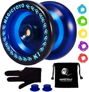 Professional Responsive Yoyo  Aluminum Yo Yo for Kids Beginner Replacement Blue