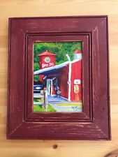 """11.5"""" Red Dairy Barn Store Car Drive Through  Silo Driveway Painting Aged Frame"""
