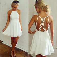Womens Strappy Chiffon Short Backless Skater Dress Summer Party Cocktail Holiday