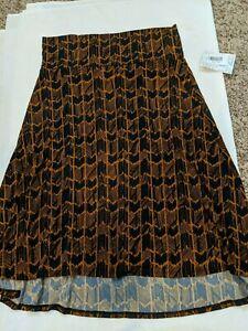 NWT LuLaRoe Azure Skirt XL navy background with orange pattern