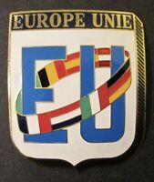 "Vintage EUROPE UNIE ""EU"" AUTO CAR BADGE ~ Enamel Over Brass ~ Made in Spain"