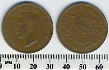 New Zealand 1946 - 1 Penny Bronze Coin - King George VI - Tui bird