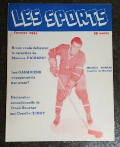 1954 Les Sports Magazine Maurice Richard Cover, Nice Condition!