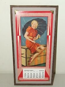 Vintage 1965 Framed Deco Risque Rockabilly Pin-Up Girl Calendar