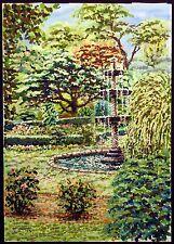 """Joel M Roman """"Cummer Gallery Fountain"""" Original Gouache Painting Submit An Offer"""