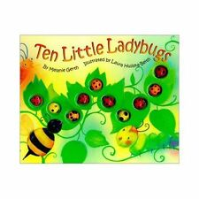 TEN LITTLE LADYBUGS with 10 3D Bugs Touch & Feel Hardcover Book Melanie Gerth