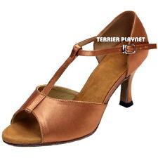 TPS Tan Satin Latin Ballroom Salsa Custom-made Dance Shoes D1062