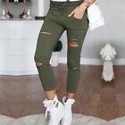 Femmes Jeans skinny genou COUPÉ déchiré Pantalon SLIM LEGGINGS EXTENSIBLE 4-12