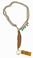 Brass Feather Necklace with Czech Glass Accents 36 inch Made in USA
