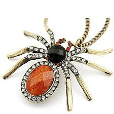 Women Retro Spider Pendant Sweater Chain Crystal Beads Necklace