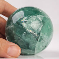 398g 62mm Natural Green Fluorite Quartz Crystal Sphere Healing Ball Chakra Decor