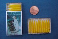 ECHTE handgezogene MINIATUR - WACHSKERZEN gelb Sort D-8 mit DEKO - Schachtel +++
