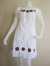 EMBROIDERED SUNFLOWER SUMMER HAWAIIAN WOMEN BEACH STRETCHABLE TOP SHIRT DRESS