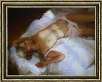 """Hand painted Original Oil Painting art Portrait bed nude girl on canvas 30""""X40"""""""