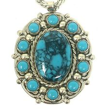 Turquoise Pendant Necklace 30in Turquoise Bell Trading Post Vtg Nickel Silver