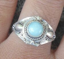 925 Sterling Silver-Balinese Poison Pill /Locket Ring Round With Larimar Sz 7