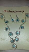 Turquoise Diamante set - Diamante Necklace & earrings set wedding prom set