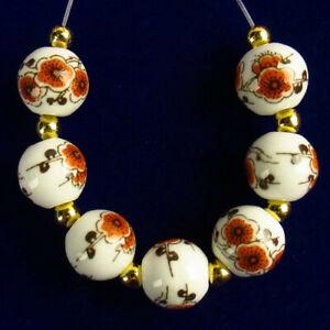 7Pcs/Set White Ceramics Orange Flower Round Ball Pendant Bead 10mm R55957