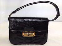 Authentic Crocodile Shoulder Bag Black Crocodile Leather  5J130Y60p*