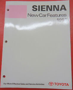 Toyota Training Handbook New Car Features 1998 Models Book Sienna