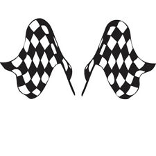 Set of Chequered Flag Stickers Kids Boys Wall Decals Racing Black White