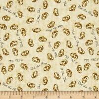 I Do Wedding Rings Champagne Quilting Treasures 100% cotton fabric by the yard