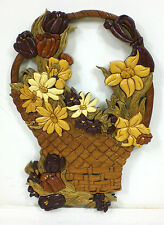 Handmade Wooden Carved Wall Hanging FLOWER BASKET Made from 465 Pieces of Wood