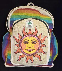 New Fair Trade Sun Printed Hemp & Cotton Back Pack Bag Hippy Hippie Festival