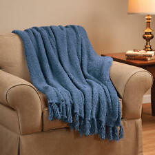 """New Large Fringe Chenille Knitted Throw Blanket Winter Cover 50""""x 70"""" Cozy Blue"""