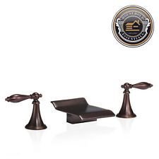 Oil Rubbed Bronze Widespread Bathroom Sink Roman Tub Waterfall Faucet