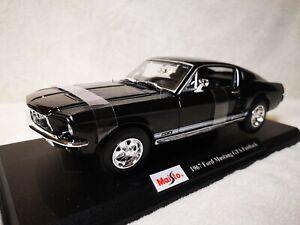 1967 Ford Mustang GTA Fastback Diecast Model Racing Car Black Maisto 1:18 new