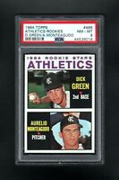 1964 TOPPS #466 ATHLETICS ROOKIE STARS GREEN/MONTEAGUDO PSA 8 NM/MT++CENTERED!
