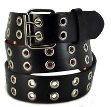 Men Women Unisex 2 Holes Row Grommet Bonded Leather Belt Metal Buckle