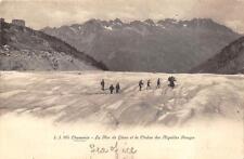 CHAMONIX GLACIER CHAINE DES AIGUILLES ROUGES FRANCE TO USA POSTCARD (c. 1920)