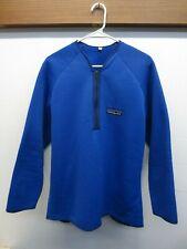 Rare! Vtg 70s Patagonia Big Logo Blue Reverse Deep Pile Fleece 1/2 Zip Jacket XL